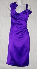 NWT Karen Millen England Purple Acetate Cocktail Asymmetrical Dress Size:12