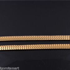 New 24k Gold Plated Snake Necklace Chain Flat Franco Men Ladies Hip Hop Necklace