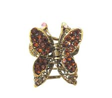 Bronze Crystal Butterfly Design Hair Accessory Claw Clip with Antique Gold Metal