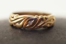 Vintage Gold Band 14K Yellow Gold Pierce Cut With Diamond Size 7 1/2 1970's