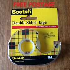 3m SCOTCH NASTRO BIADESIVO 12mm x 11.4m LG 1 x Dispenser Roll con Nuovo di Zecca