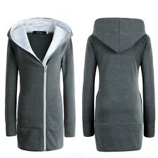 Women Oversized Hoodies Jacket Ladies Long Zipper Up Outwear Coat Plus Size 6-20