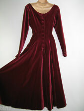 LAURA ASHLEY VINTAGE CLARET VELVET ELIZABETHAN/TUDOR STYLE EVENING GOWN,8/10