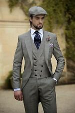 Gray Mens Morning Suit Wedding Suits Bespoke TUxedos With Double Breasted Vest