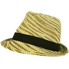 Summer Light Weight Zebra Animal Print Sun Fedora Trilby Stingy Hat Natural