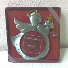 ST. NICHOLAS SQUARE CHRISTMAS 3 1/2 X 3 1/2 METAL ANGEL TABLETOP PICTURE FRAME