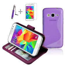 PURPLE Wallet 4in1 Accessory Bundle Kit Case Cover Samsung Galaxy Core Prime LTE