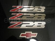 GM LICENSED, 93-02 CAMARO Z28 FILL EMBLEM BADGES SET STAINLESS STEEL, CUSTOM LS1