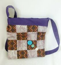 Designer Handbag Boho Banjara Cross Body Messenger Patchwork Quilted ipad Purple