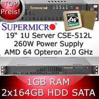 1U / 1HE Supermicro Server • AMD Opteron 64 2.0 GHz • 1GB RAM • 2 x 164GB HDD