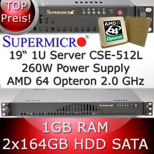 1U / 1HE Supermicro Server • AMD Opteron 64 2.0 GHz • 1GB RAM • 2 x 164GB HDD