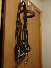 BRASS Bridle Halter Combo Brown Leather LARGE horse size w 5.25'' curb bit