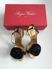 Roger Vivier Black Patent Leather Platform Rose Sandal & Stem Heel Sandals 38