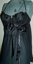 Victoria's Secret Black Satin Push-up Baby Doll Top  34C