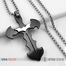 Stainless Steel The Dark Night Batman Bat Cross Pendant w Round Box Necklace 13G