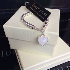 Luxurious Designer Silver One Size Heart Stretch Bracelet - Gift Packaged