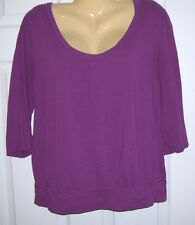 Old Navy Women Top Pull Over M 60/40 Cotton/Modal 3/4 Sleeve Plum  #9T150