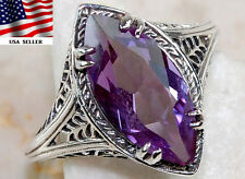 2CT Color Changing Alexandrite 925 Solid Sterling Silver Filigree Ring Sz 6,F5-1