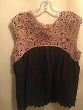 Anthropologie Womens Blouse/Top M Black & Cofee Colored Crochet At Top NWOT CUTE