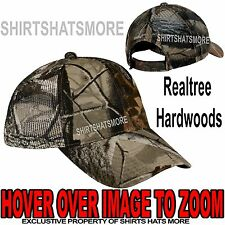 Camo MESH BACK Realtree Hardwoods Hunting Hat Trucker Baseball Cap Velcro NEW!