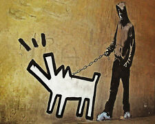 Banksy Haring Dog Walk Grafitti premium 24 x 30 inch Canvas Print Venne