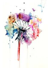 DANDELION FLOWER WATERCOLOUR ART IMAGE A4 Poster Gloss Print Laminated