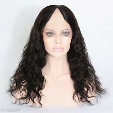 Custom Lace Front Brazilian Virgin Natural Wave Middle U Part Human Hair Wig 18""