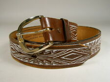 JUSTIN TOOLED LEATHER BELT 34 WESTERN COWBOY RANCH Good Used **NO SALES TAX**