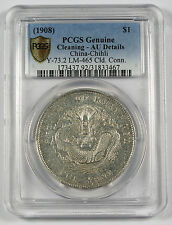 1908 CHINA Chihli $1 Dollar Silver Dragon Coin PCGS AU L&M-465 Y73.2 Pei Yang