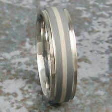 White Gold Titanium Mens Wedding Band Sandblast Ring Made to any Sizing 3-22