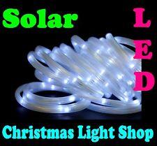 WHITE 5m Solar LED Ropelight Flashing Outdoor Garden Christmas Tube Rope Lights