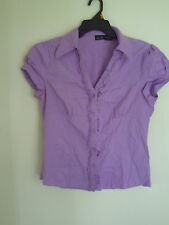 WILLI SMITH Short Sleeve Purple  Button Up Top Shirt Blouse  Sz L