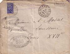BRESIL - SANTOS - POUR PARIS 14-8-1916 - BANDE DE CENSURE + CONTROLE 366.