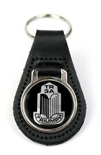 Triumph TR3A Grille Logo Quality Black Leather Keyring