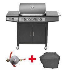 Sparset Gasgrill BBQ Grillwagen 4 Edelstahl Brenner Gas + Seitenkocher + Zubehör