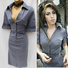 KAREN MILLEN BLUE SILVER DOT SHIRT STYLE DRESS same WORN BY AMY WINEHOUSE 14UK