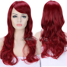 HOT Long Curly Wavy Cosplay Wigs Ombre Synthetic Hair Full Wig Black Purple Pink