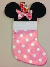 "Disney Minnie Mouse Ears 18"" Velour Christmas Stocking Plush Pink Bow Holiday"