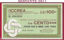 ICCREA LIRE 100 15.03. 1977 ASSOCIA. GENERALE COMMERCIO TURISMO BATTIPAGLIA B347