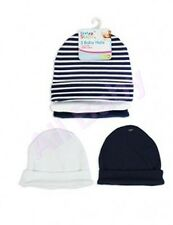 *NEW* Pack of 3 Soft Stylish Pure Cotton Baby Hats (Navy Blue & White)