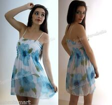 Women's Ladies Floral Blue Sexy Strappy Chiffon Party Summer Short Mini Dress