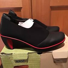 NIB NAOT WOMEN'S WEEKEND ONYX BLACK RED TRIM LEATHER WEDGE EU 40 US 8.5 - 9 $180
