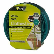 Whites Outdoor WIRE CORE CLOTHESLINE 4mmx60m Flexible, Forest GREEN Aust Brand