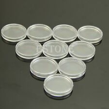 Hot 10pcs 24mm Clear Round Cases Coin Storage Capsules Holder Round Plastic