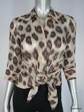 LAFAYETTE 148 2 P Linen Silk Sheer Jacquard Animal Print Tan Multi Blouse XS EUC