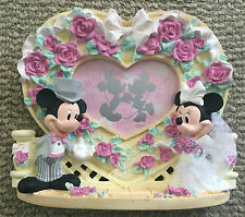 NEW!!! Disney MICKEY & MINNIE Mouse WEDDING Picture FRAME Discontinued W/ BOX