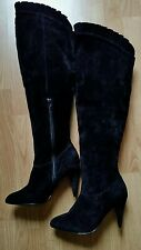 New Debenhams Red Herring Ladies Suede Leather Over Knee Boots Size 4