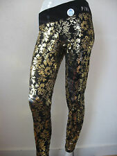 NWT Victoria's Secret PINK Yoga Leggings GOLD FLORAL DESIGN SHINE SEXY MEDIUM
