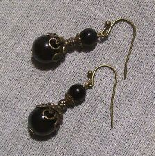BRONZE SWIRL FILIGREE BLACK GLASS BEAD DROP EARRING VICTORIAN EDWARDIAN DECO JET