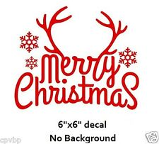 Merry Christmas with Antlers Decal Sticker for Glass Block DIY Crafts